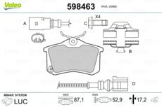 Disques de frein 249 mm garnitures arrière Peugeot 308 II 2 également SW//Kombi